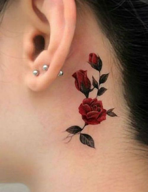 Classy Red Rose Tattoo Placement Behind The Ear For Girls