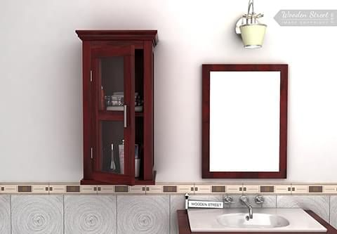 Buy Benitez Bathroom Cabinet Mahogany Finish Online In India