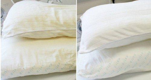 O suor faz com que os travesseiros comecem a mostrar uma cor amarelada. Se você quer que eles pareçam novos outra vez, experimente este truque.