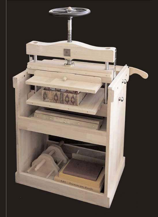 book binding press, banco de trabajo para encuadernar