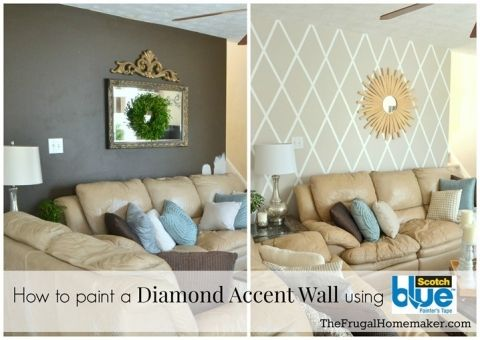How to paint a diamond accent wall with ScotchBlue tape - TheFrugalHomemaker.com