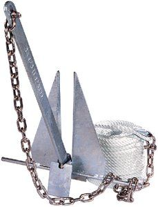 Tiedown Engineering 95096 DANFORTH ANCHOR KIT FOR 8S - boatanchory.com - Traditional holding power which has always been associated with Danforth Standard Anchors. The shank is made of high strength steel. The steel flukes are strong and wide. Each anchor has a hot dipped galvanized coating for long lasting protection. Kits include Danforth anchor, rope, stainless steel chain and shackles.
