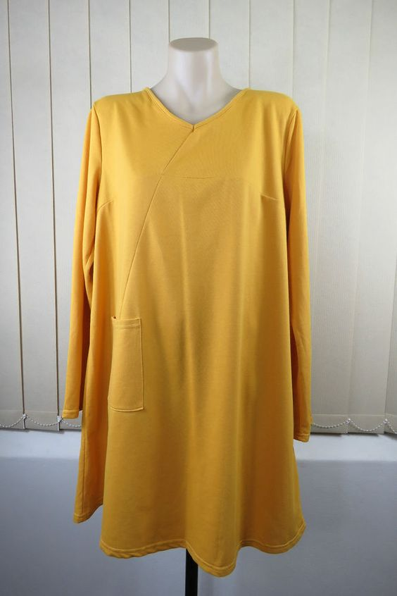 NWT One Size XL 16  Ladies Loose Tunic Dress Boho Chic Hippie Gypsy Office Work Casual Long Sleeve Earthy Mustard Yellow Colour Large Pocket Funky Relax Loose Fit Design
