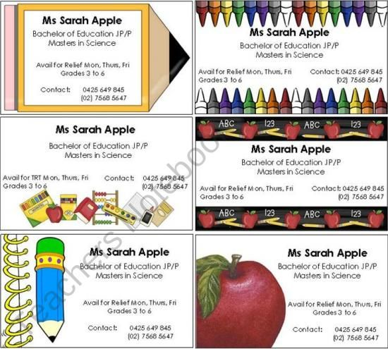 FREE Editable Business Cards for Substitute Teachers from Imaginative Teacher on TeachersNotebook.com (6 pages) -