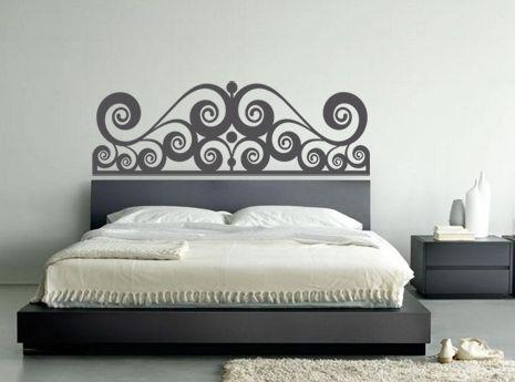 Testata letto sinuosa adesivo murale sticker 46€ made in italy ...