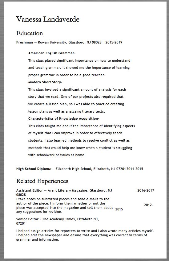 Freshman Resume Template Examples Vanessa Landaverde Education - concierge resume