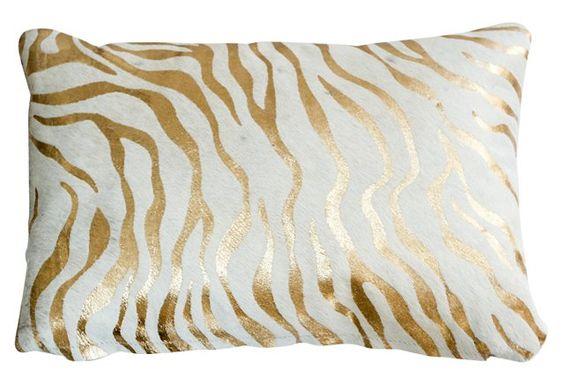 Baby Zebra 16x24 Hide Pillow, Gold