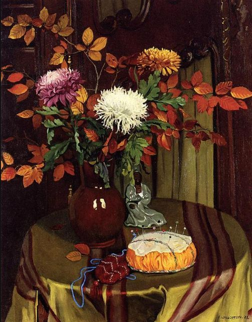 Felix Vallotton, Chrysanthemums and Autumn Foliage, 1922