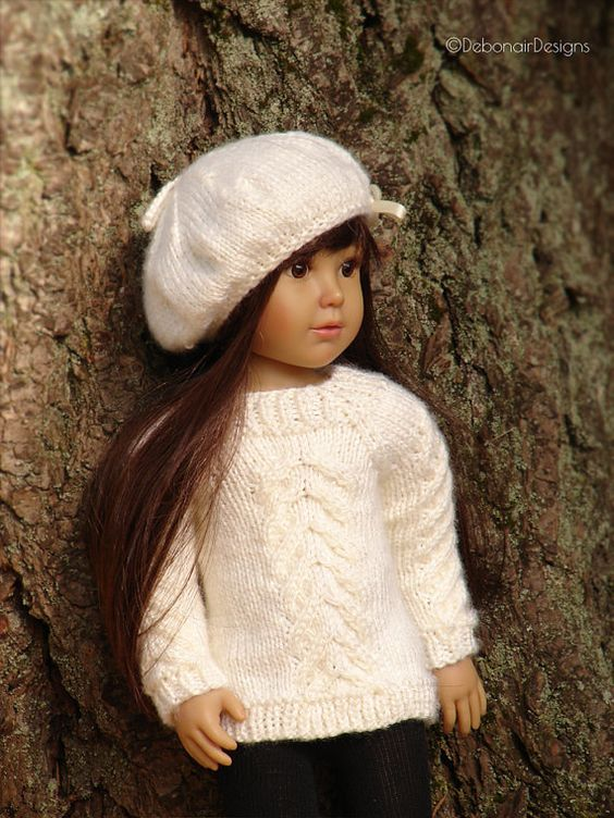"""Drift PDF slim 18"""" Doll Clothes a cable stitched sweater and tam knitting pattern for slim 18"""" Kidz n Cats dolls by Debonair Designs"""