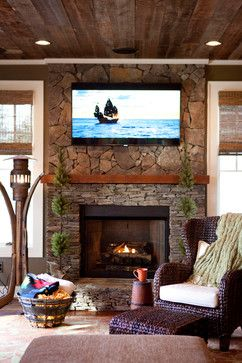 HOME DECOR – FIREPLACE – Hunting Lodge - rustic - living room - raleigh - C.H.I. Construction, Inc.