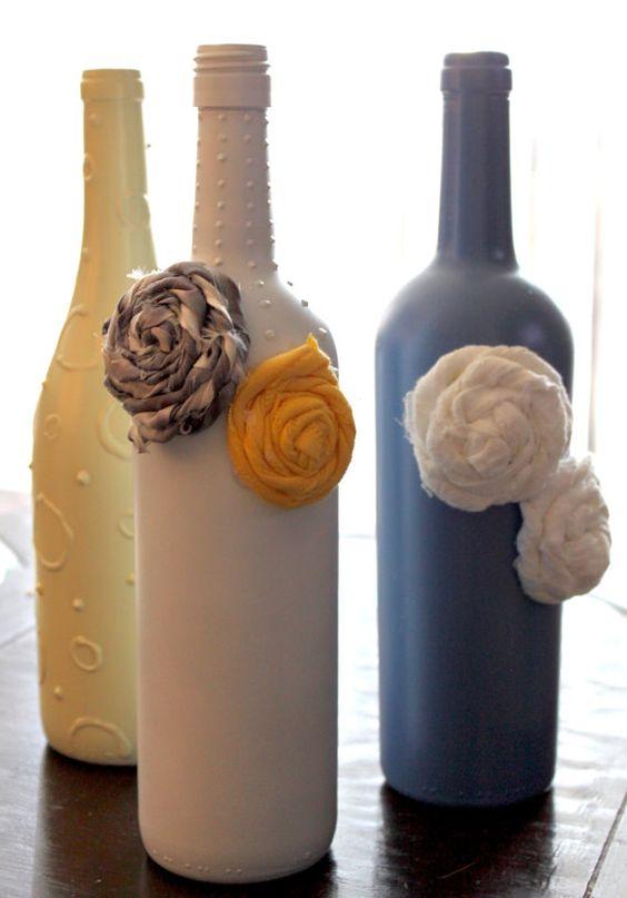 Hot glue guns decorative wine bottles and liquor on pinterest for Liquor bottle vases