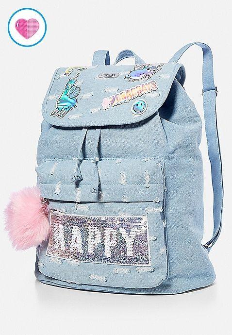 Denim Patch Rucksack Justice Justice Backpacks Cute Backpacks Girls Bags