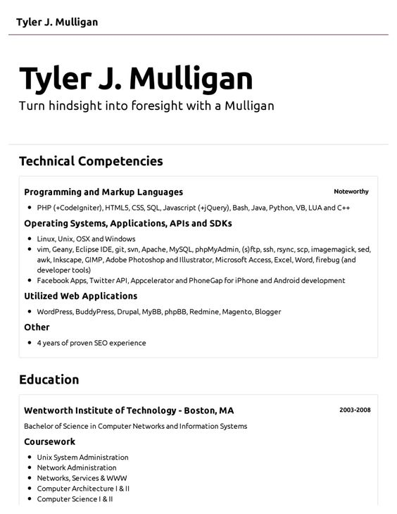 Computer Science Resume Example   Http\/\/topresumeinfo\/computer   Computer  Example Of The Perfect Resume