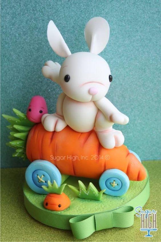 Easter Cake Decor : Easter cake rabbit topper - not a cake, just fondant. But ...