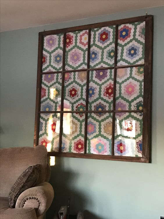 Antique quilt in a old window frame!