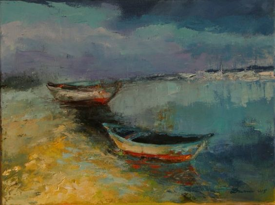 ARTFINDER: Peaceful haven by Joanna Duma - Inspiration to paint this picture was two boats which have found safe haven...