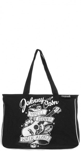 You'll never walk the line alone with the  Johnny Cash tote! #blamebetty #johnnycash #rockabilly