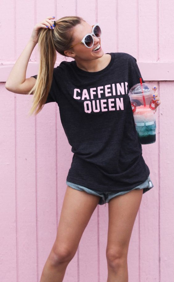 caffeine queen all day every day..it's a necessity to survive. this charcoal short sleeve t shirt features a scoop neck and pink puff paint letters. the fit of this t shirt is loose and relaxed. - cat