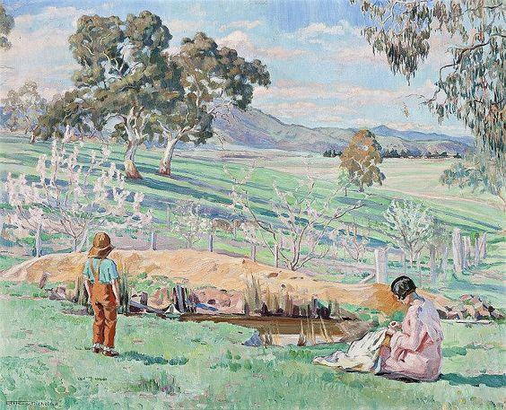 HILDA RIX NICHOLAS, 1884 – 1961, SPRING AFTERNOON, KNOCKALONG, 1933, oil on canvas: