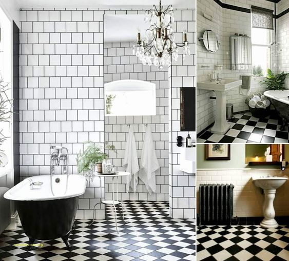 Carrelage Damier Noir Et Blanc Avec Images Salle De Bain Noir