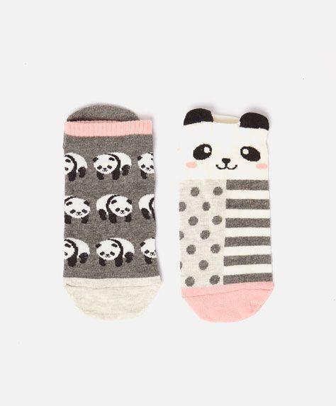 Pack of panda ankle socks - OYSHO