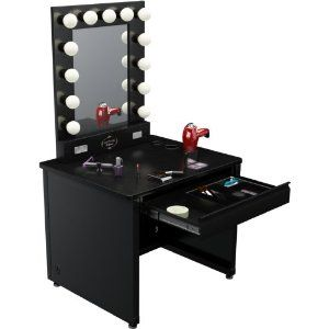 """Broadway Lighted Vanity Desk 36'' x 30"""" - Black Frame, Black Surface - $862.00 - It's a little pricey but it kills 4 birds with one table.  storage, lights, table, and mirror"""