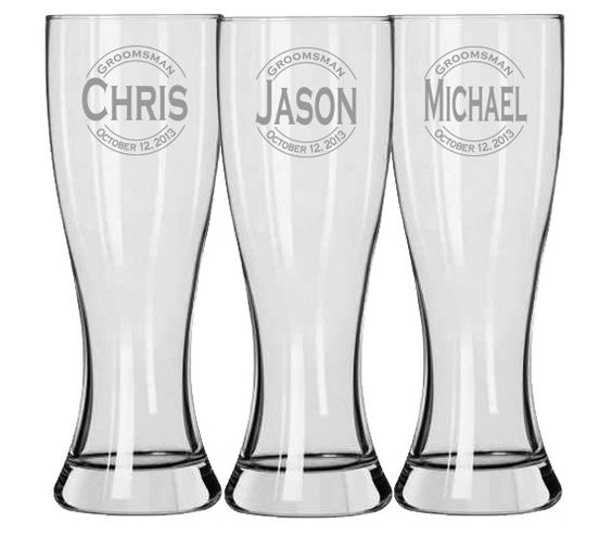 Etched Glass Wedding Gifts: Groomsmen Gift, Personalized Beer Glasses, Custom Engraved