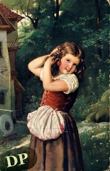 """A Girl Playing With Cherries"", by German artist - Johann Georg Meyer von Bremen (1813-1886), Oil on canvas."
