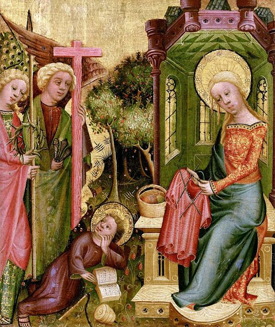 Retablo de Buxtehude, madonna tejiendo,  Kunsthalle, Hamburgo 1400-1410: