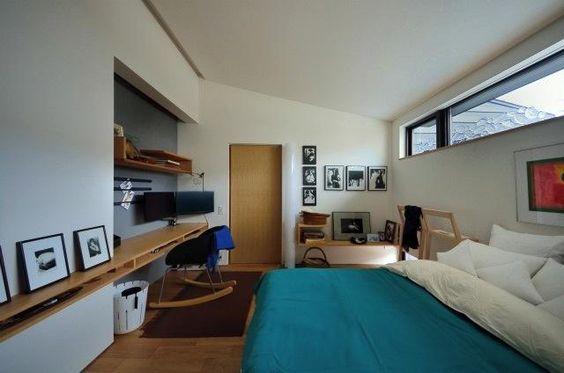 ベッドルーム事例 海外風おしゃれベッドルーム 小さな平屋 内部と