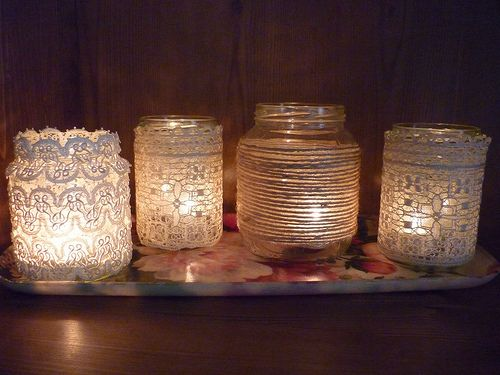 Vintage Votives-I am going to do this with Mason jars, that my Grandma sends with canned tomatoes.