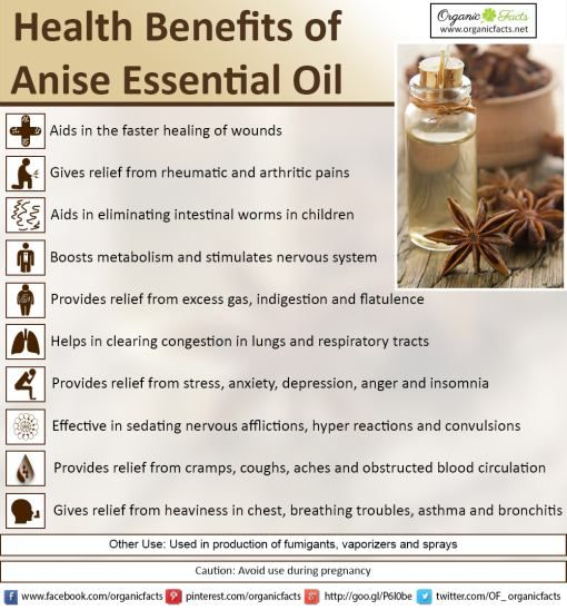 Use of anise essential oil boosts metabolism and stimulates nervous system. It has many other health benefits. Read more on