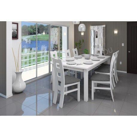 8-osobowy zestaw: stół biały wysoki połysk BRILLANT + krzesła WINDOW BIAŁE