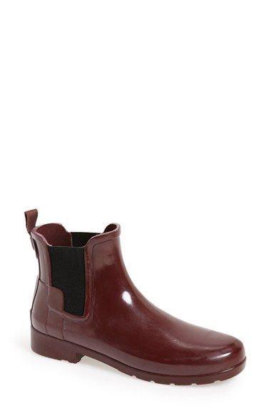 Hunter 'Original Refined' Waterproof Chelsea Gloss Boot (Women)