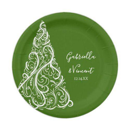 Green Christmas Tree Winter Wedding Paper Plate Zazzle Com Christmas Paper Plates Green Wedding Invitations Christmas Dinnerware
