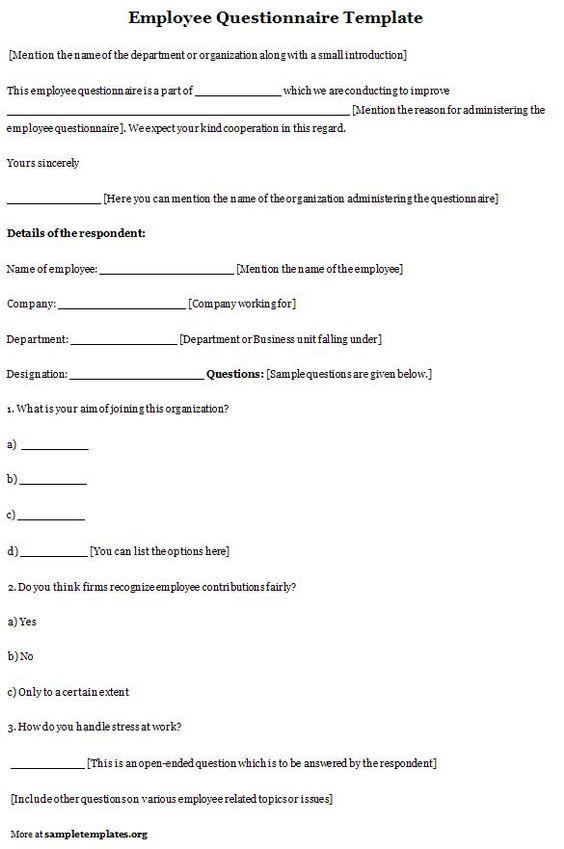 Simple one Employee Questionnaire Pinterest - patient satisfaction survey template