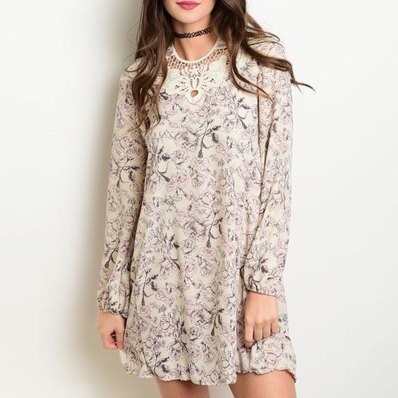 ✨NEW✨Ivory Lilac Floral Crochet Tunic Dress Long sleeve floral tunic with crochet neck detail and also along the back with a tie. Available in M and L. *PLEASE ASK FOR A SEPARATE LISTING* Dresses
