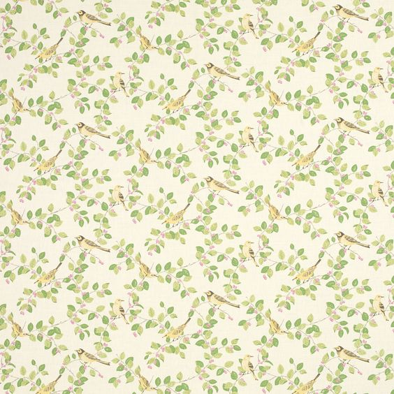 Green Curtains apple green curtains : Aviary Garden Apple Green Mix Patterned Curtain Fabric at Laura ...