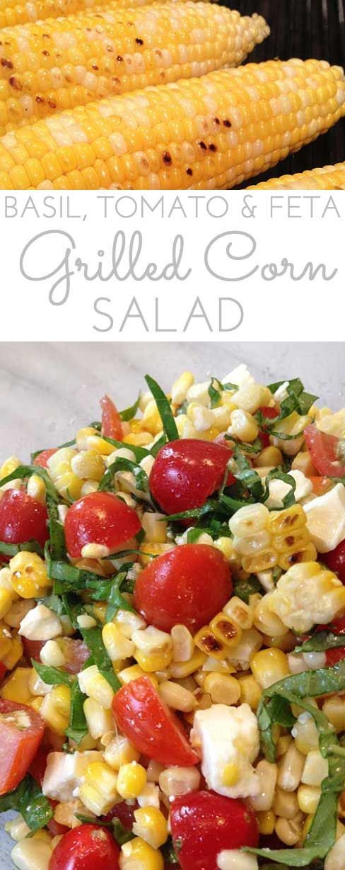 This Grilled Corn Basil and Tomato Salad with feta brings fresh and summer straight to your next picnic, barbecue or luncheon.