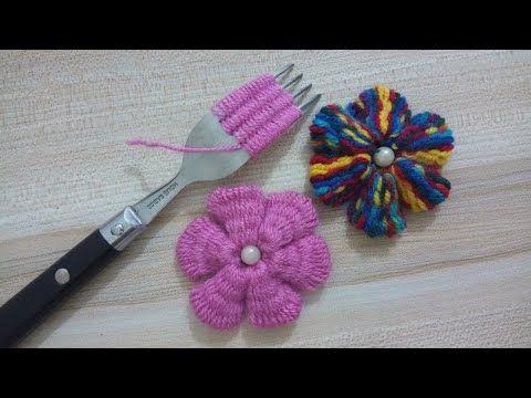طريقة عمل وردة جميلة وسهلة التطريز اليدوي Easy Flower With Hand Embroidery Amazing Trick Youtube Flower Crafts Hand Embroidery Crafts