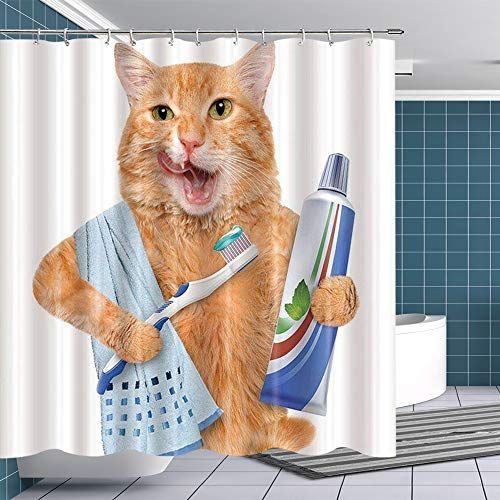 Btty Shower Curtain Morning Cat For Bathroom Polyester Wa Https Smile Amazon Com Dp B07gj Cat Shower Curtain Bathroom Shower Curtains Cute Shower Curtains