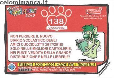 Amici Cucciolotti 2017: Retro Figurina n. 138 -