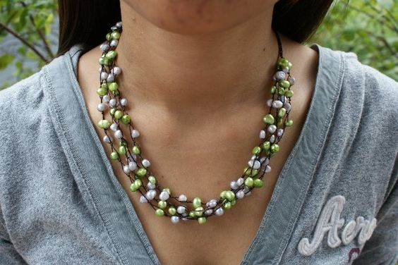 Green Pearl Layered Necklace
