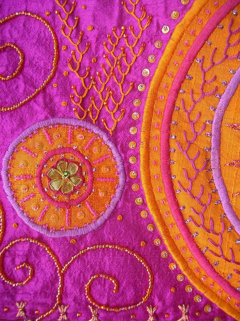 Detail Echo - This is a textile art piece.  Pink & orange