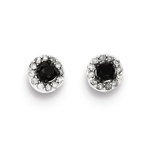 Sterling Silver Black And White Diamond Circle Post Earrings