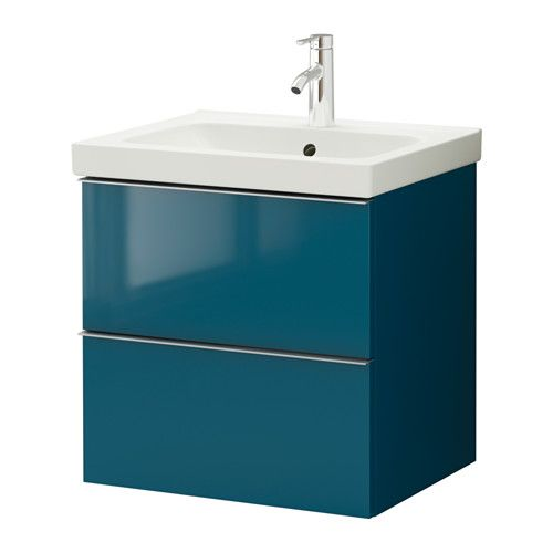 Meuble lavabo 2tir, brillant turquoise brillant turquoise 60x49x64 cm