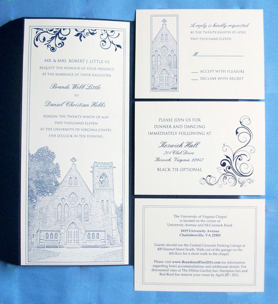 Our formal wedding invitations turned out gorgeous, featuring the University of Virginia (UVA) Chapel and all its beauty!