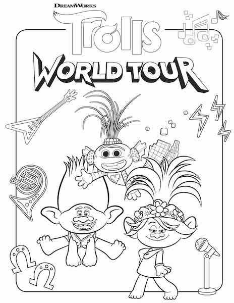Free Printable Trolls World Tour Coloring Pages Party Ideas Any Tots In 2020 Free Kids Coloring Pages Coloring Pages Poppy Coloring Page