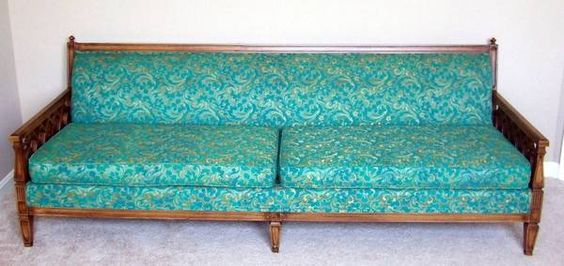 Vintage Mid Century Teal Turquoise Floral Sofa Couch