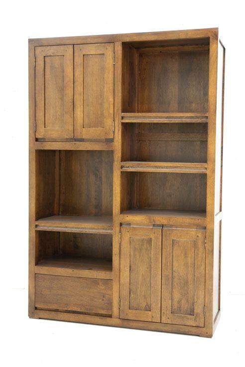 Bibliotheque 4 Portes 1 Tiroir Hevea 100x150cm Olga Meuble Rangement Mobilier De Salon Rangement Bois